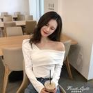 一字肩上衣女2021年新款性感斜肩白色t恤露肩心機打底衫緊身長袖 果果輕時尚