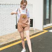 2018夏季新款韓版牛仔背帶短褲女可愛學生顯瘦糖果色背帶褲連體褲【黑色地帶】