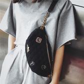 胸包 超火包包女2019新款潮菱格徽章胸包韓版百搭小挎包時尚腰包 2色 交換禮物