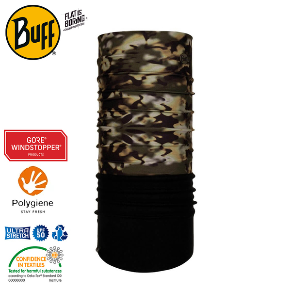 【BUFF 西班牙 Windproof防風頭巾 Plus 森林迷彩】118127/圍脖/帽子/口罩/圍巾/防風透氣