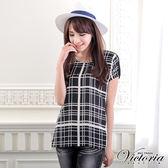 Victoria 浪漫格子雪紡衫-女-黑色