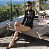泳衣 新款黑色保守連體女顯瘦遮肚比基尼溫泉bikini女
