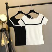 夏季冰絲薄款短袖一字領上衣針織衫t恤