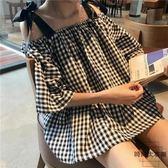 韓版復古格子露肩吊帶上衣寬松一字肩短袖襯衫女【時尚大衣櫥】