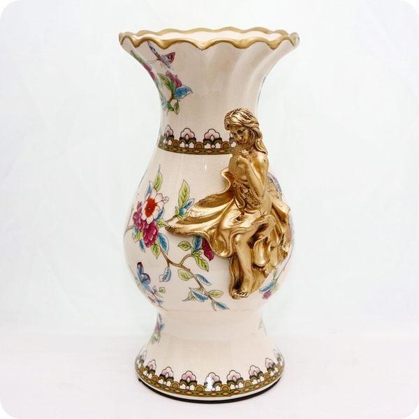 歐風經典陶瓷冰裂紋復古奢華美女花器/花瓶/裝飾/擺飾【雅典娜家飾】