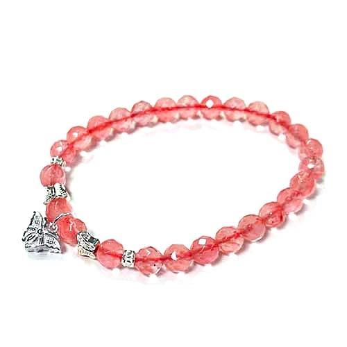 三隻純銀蝴蝶與草莓晶角度珠彈性手環