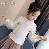 長袖T恤—女童秋裝新款洋氣童裝兒童長袖T恤泡泡袖中大童蕾絲白色上衣 korea時尚記