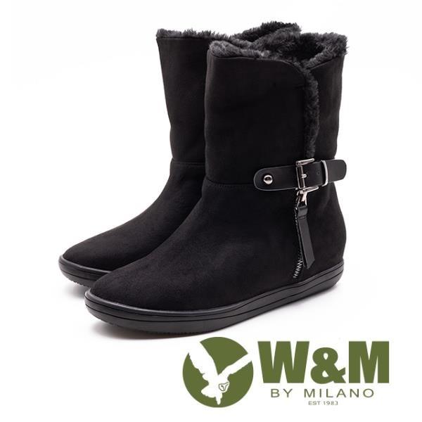 【南紡購物中心】W&M 經典毛絨皮帶釦拉鍊式中筒 女靴-黑(另有灰咖)