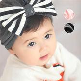 條紋蝴蝶結柔棉嬰兒帽 童帽 嬰兒帽 胎帽 新生兒帽