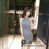 露背洋裝/夏天新款夜店女裝氣質名媛掛脖小心機顯瘦包臀禮服連身裙