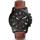【台南 時代鐘錶 FOSSIL】FS5241 極致品味 羅馬時標三眼計時腕錶 黑鋼/咖啡 44mm 公司貨開發票