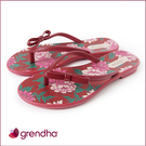 GRENDHA 熱戀薔薇蝴蝶結夾腳鞋-紅色