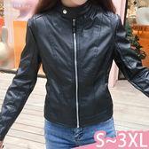 外套-S-3XL新款簡約小立領純黑拉鍊修身顯瘦短版皮衣外套Kiwi Shop奇異果0920【SZZ9793】