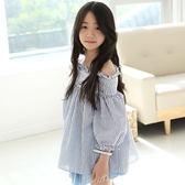 ~╮小衣衫S13 ╭~中大童清新藍白條紋一字領寬鬆上衣1050331