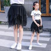 夏新款女童半身裙中大兒童舞蹈長裙小女孩蓬蓬裙短裙子公主網紗三角衣櫥