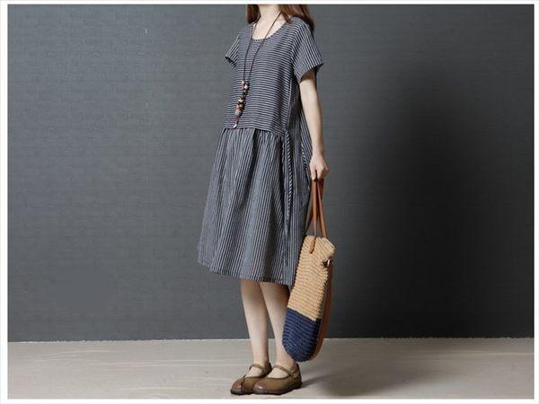 漂亮小媽咪 清新洋裝 【D1290】 復古 文藝 短袖 條紋 寬鬆 棉麻 孕婦裝 孕婦洋裝 加大碼