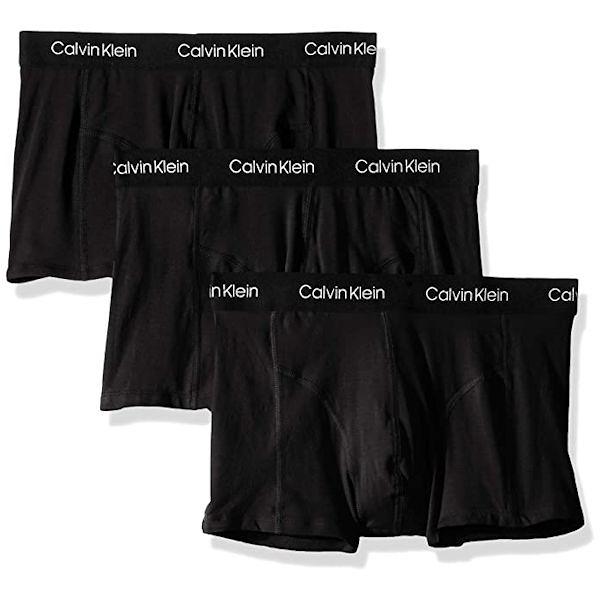 Calvin Klein 男低腰彈力平角合身內褲3件裝(黑色)