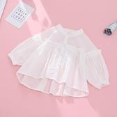 女童娃娃衫寶寶空調衫薄款公主春夏季兒童襯衫韓版洋氣時髦白開衫 嬌糖小屋