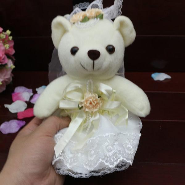毛絨玩具一對公仔 紅色婚慶娃娃壓床 車頭婚車裝飾結婚婚紗小熊   初見居家