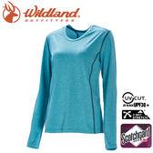 【Wildland 荒野 女 圓領雙色抗UV長袖上衣《湖水綠》】0A71655/運動衣/吸濕排汗/登山/防曬