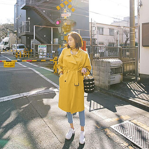 風衣外套-長版雙排扣修身翻領黃色女大衣73wd23[巴黎精品]