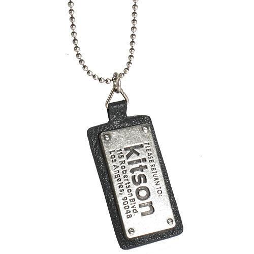 KITSON 復古洗舊皮革地址吊牌項鍊(黑色)140406