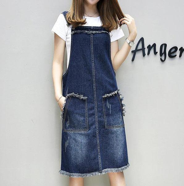 【9017】大尺碼寬鬆顯瘦毛邊牛仔吊帶裙 背心裙(M-5XL)