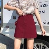 牛仔短裙 [S-5XL] 新品學生百搭高腰牛仔半身裙女大碼A字短裙 - 古梵希