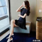 連身裙.黑色魚尾連身裙夏裝淑女裙皺奶油超仙女慵懶風..花戀小鋪