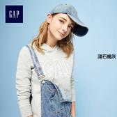 Gap女裝 logo刷毛連帽休閒上衣 長袖上裝女 527507-淺色石楠灰