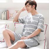夏季男士短袖純棉薄款睡衣休閒大碼寬鬆套裝韓版青年可外穿家居服 依凡卡時尚