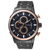 RHYTHM日本麗聲 時尚霸氣計時手錶-鍍黑/48mm SI1607S06