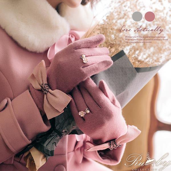 手套 蝴蝶結戒指造型觸控手套-Ruby s 露比午茶
