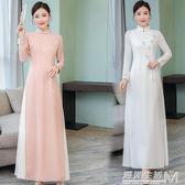 春夏原創復古中國風盤扣唐裝氣質修身手繪款粉色改良旗袍奧黛  遇見生活