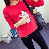 長袖針織衫-簡約字母冰淇淋印花女T恤2色73hn54[時尚巴黎]