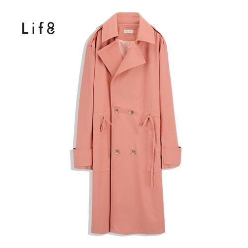 Life8-腰部抽繩長版率性風衣【51452】