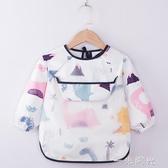 寶寶純棉罩衣吃飯防水防臟兒童圍裙長袖反穿衣小孩嬰兒圍兜護衣 雙十二全館免運