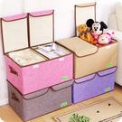 棉麻雙蓋衣物收納箱 大號有蓋玩具整理箱 可折疊【雲木雜貨】
