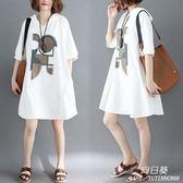 長裙 洋裝 減齡女裝mm夏裝新款韓版寬鬆中大尺碼 連帽中袖連衣裙中長款t恤裙子
