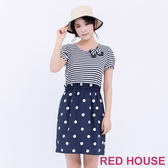 RED HOUSE-蕾赫斯-圓領條紋拼接鬆緊合身洋裝(藍色)