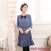 【RED HOUSE-蕾赫斯】雪紡珍珠腰鍊假兩件式洋裝(藍紫色) 冬季最後出清