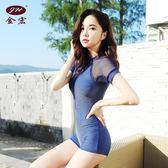 女士泳裝 游泳衣女士保守連體平角韓國性感大小胸聚攏遮肚顯瘦泡溫泉泳衣 igo 歐萊爾藝術館