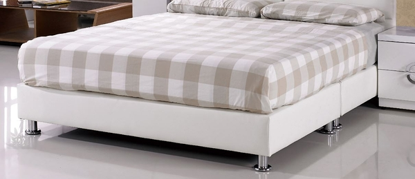 【森可家居】莉莎5 尺白皮雙人床底7JF079-3 簡約 北歐風 MIT台灣製造