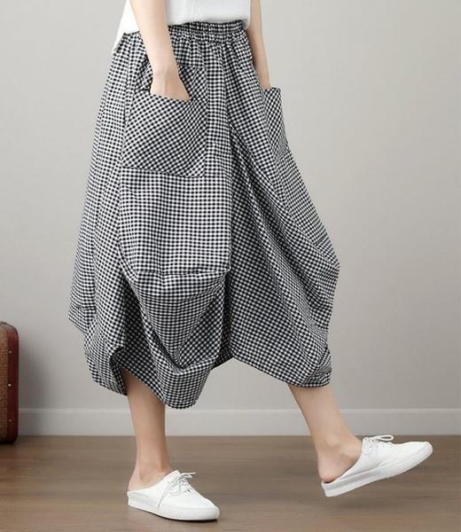 漂亮小媽咪 原創設計燈籠裙 【S3130】 棉麻 格紋 口袋 花苞 長裙 縮緊 不規則 燈籠裙
