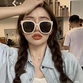 墨鏡 復古新款奶白色墨鏡方形大框情侶街拍太陽眼鏡顯瘦