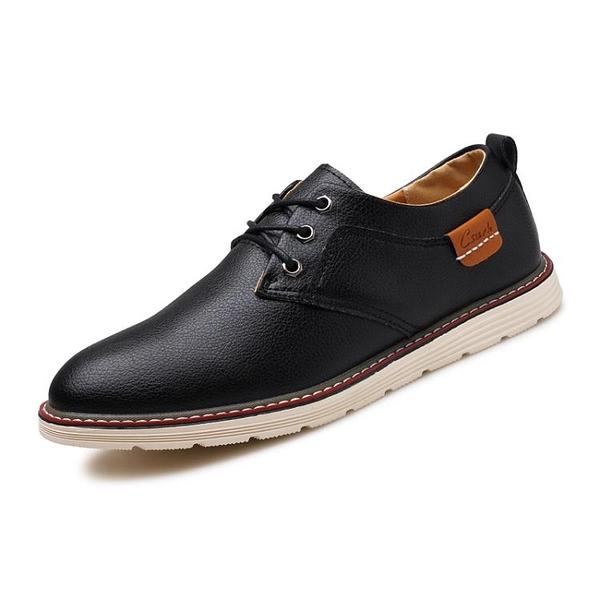夏季透氣青少年韓版商務正裝小皮鞋男士英倫風潮流百搭休閒板鞋子 西城故事