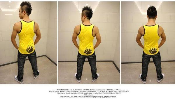 奢華壞男《 熊掌限量款 - 超舒適彈性合身背心 (黃底滾咖啡邊) 》【S / M / L / XL / XXL】(潮T、上衣)