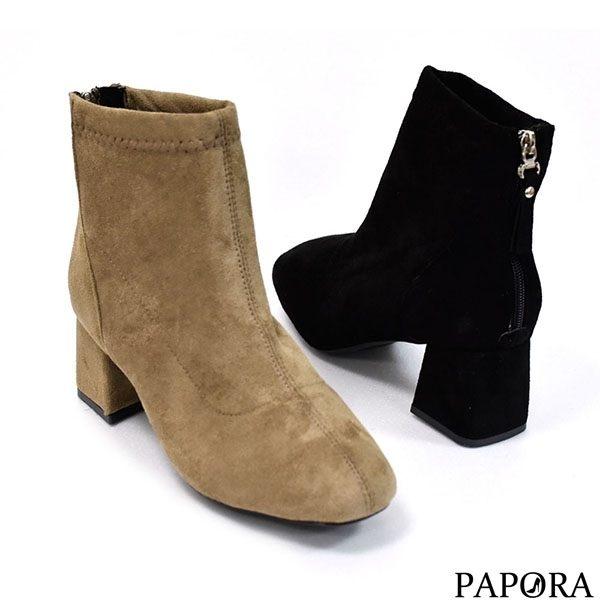 PAPORA氣質絨面高跟中筒靴KYK77黑
