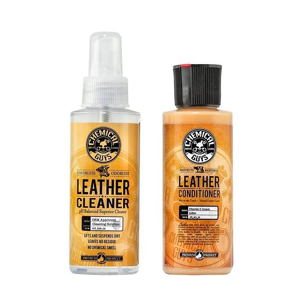 [9美國直購] Chemical Guys 皮革保養套組 Leather Cleaner and Conditioner Complete Leather Care Kit 4 Oz 2 Items