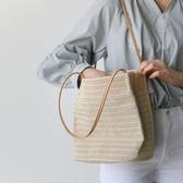 編織包夏季草編包泰國藤編手提沙灘包 度假大容量編織水桶包側背女包 限時特惠